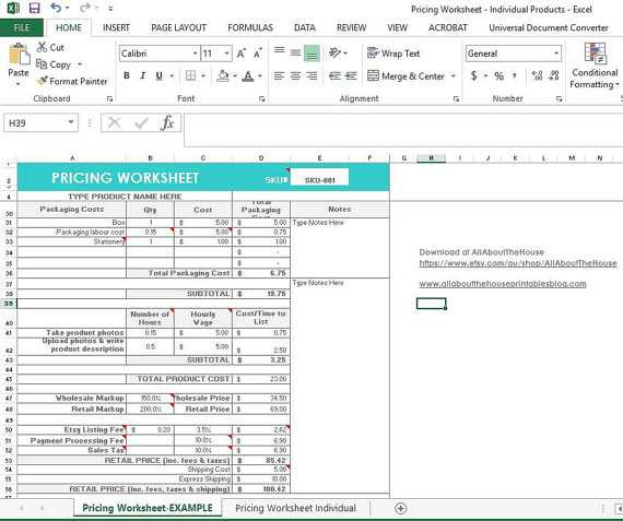 Menu Engineering Worksheet Excel Also Pricing Calculator Shop Management tool Etsy Sellers Handmade