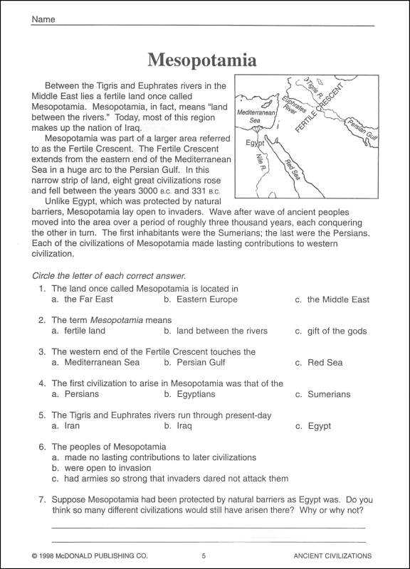 Mesopotamia Reading Comprehension Worksheets Also Ancient Mesopotamia Worksheet the Best Worksheets Image Collection