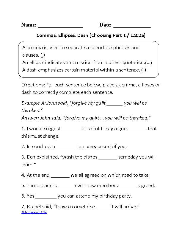 Middle School English Worksheets Along with 8th Grade Mon Core Language Worksheets
