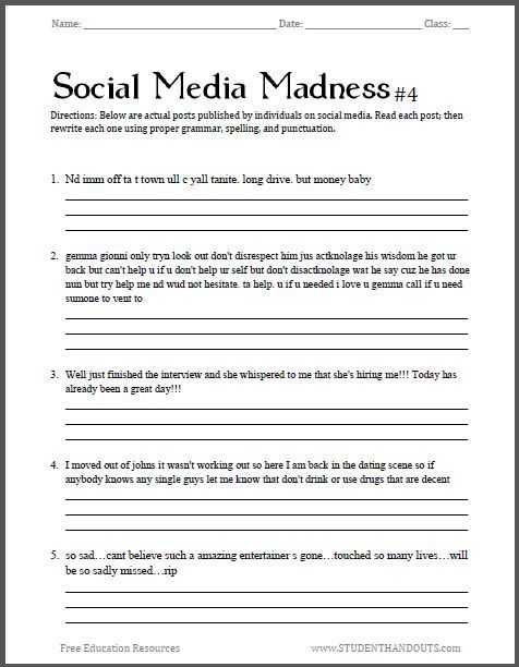 Middle School English Worksheets and social Media Madness Worksheet 4 Fourth Free Printable Worksheet