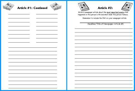 Middle School Journalism Worksheets with Biography Book Report Newspaper Templates Worksheets and Grading