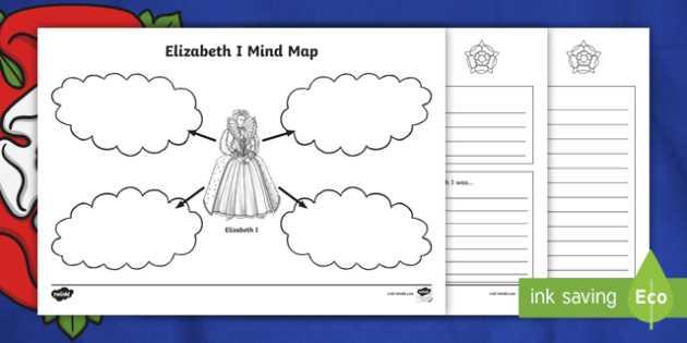 Mind Map Worksheet or Tudors Elizabeth I Mind Maps and Worksheets Elizabeth I the