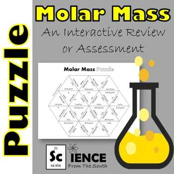 Molar Mass Worksheet Answer Key Along with Molar Mass Puzzle for Review or assessment by Science From the south