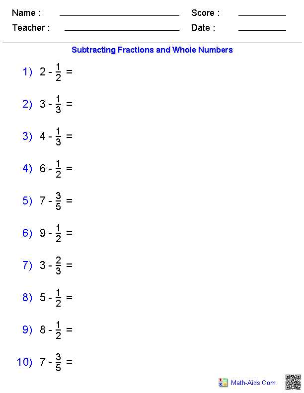 Multiplying Fractions and Mixed Numbers Worksheet with Subtracting Fractions and whole Numbers Worksheets