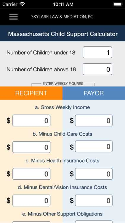 Nc Child Support Worksheet with Ma Child Support Calculator by Skylark Law & Mediation P C