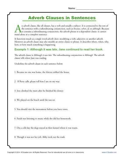 Noun Verb Sentences Worksheets and Adverb Clauses In Sentences