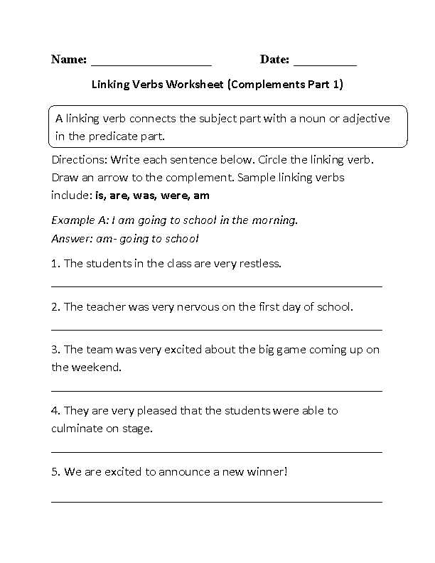 Noun Verb Sentences Worksheets with Linking Verbs and Plements Worksheet Elesha Wedding