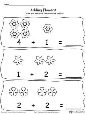 Number 4 Worksheets and Adding Numbers with Flowers Sums to 5 3 4