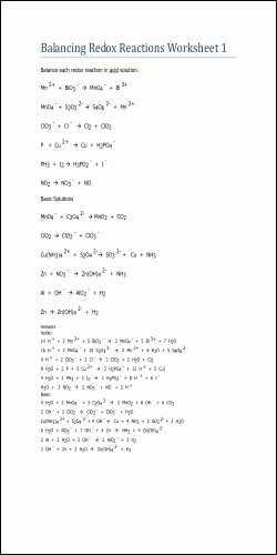 Oxidation Reduction Reactions Worksheet or 40 Great Balancing Redox Reactions Worksheet Pics