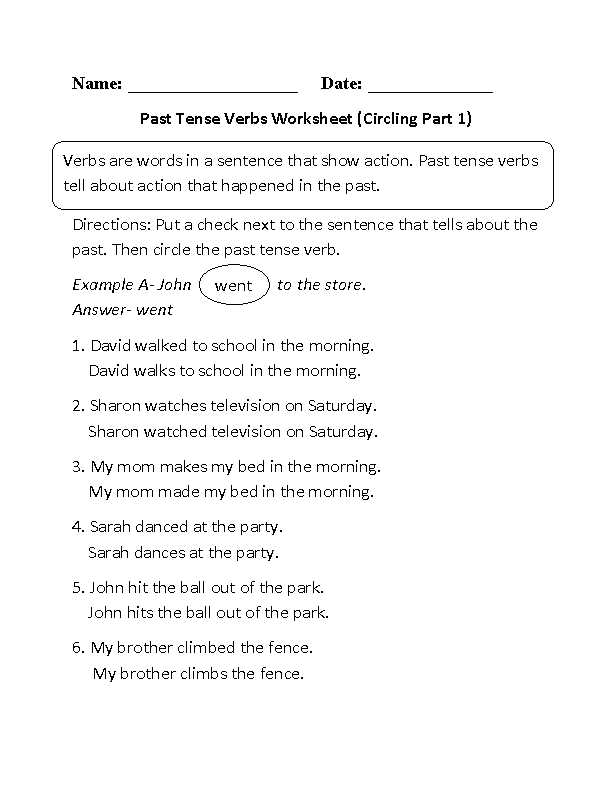 Past Tense Verbs Worksheets with Best Verb Tense Worksheets New Circling Past Tense Verbs