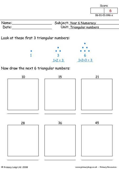 Percentage Worksheets for Grade 6 with Triangular Numbers 1