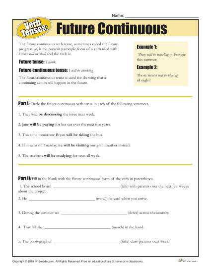 Perfect Verb Tense Worksheet Also Verb Tense Worksheets Future Continuous Homeschool