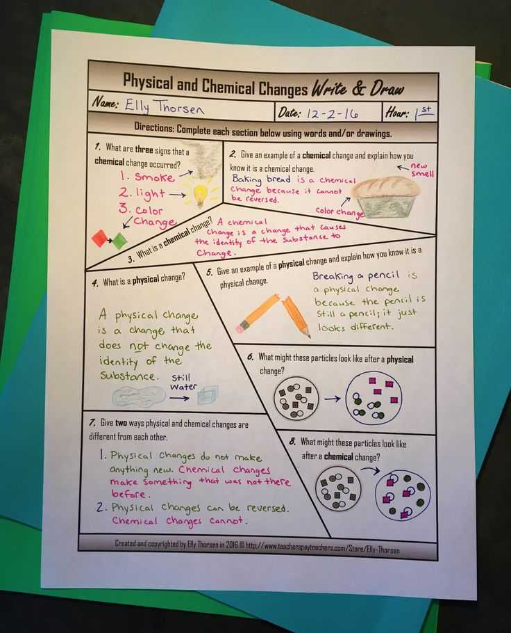 Physical and Chemical Changes Worksheet and 80 Best Physical & Chemical Changes Images On Pinterest