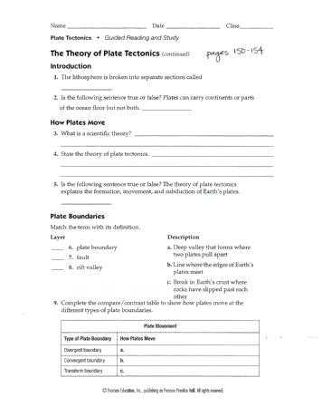 Plate Tectonics Review Worksheet together with Plate Tectonics Worksheet Answers – Streamcleanfo