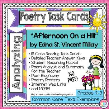 """Poetry Analysis Worksheet Answers Also afternoon A Hill"""" by Edna St Vincent Millay Poetry Analysis Task"""