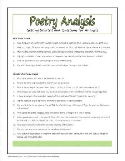 Poetry Analysis Worksheet Answers and 82 Best Teaching Poetry Images On Pinterest