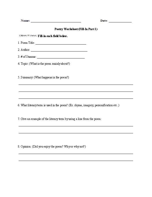 Poetry Analysis Worksheet Answers with Junior High Grammar Worksheets Worksheets for All