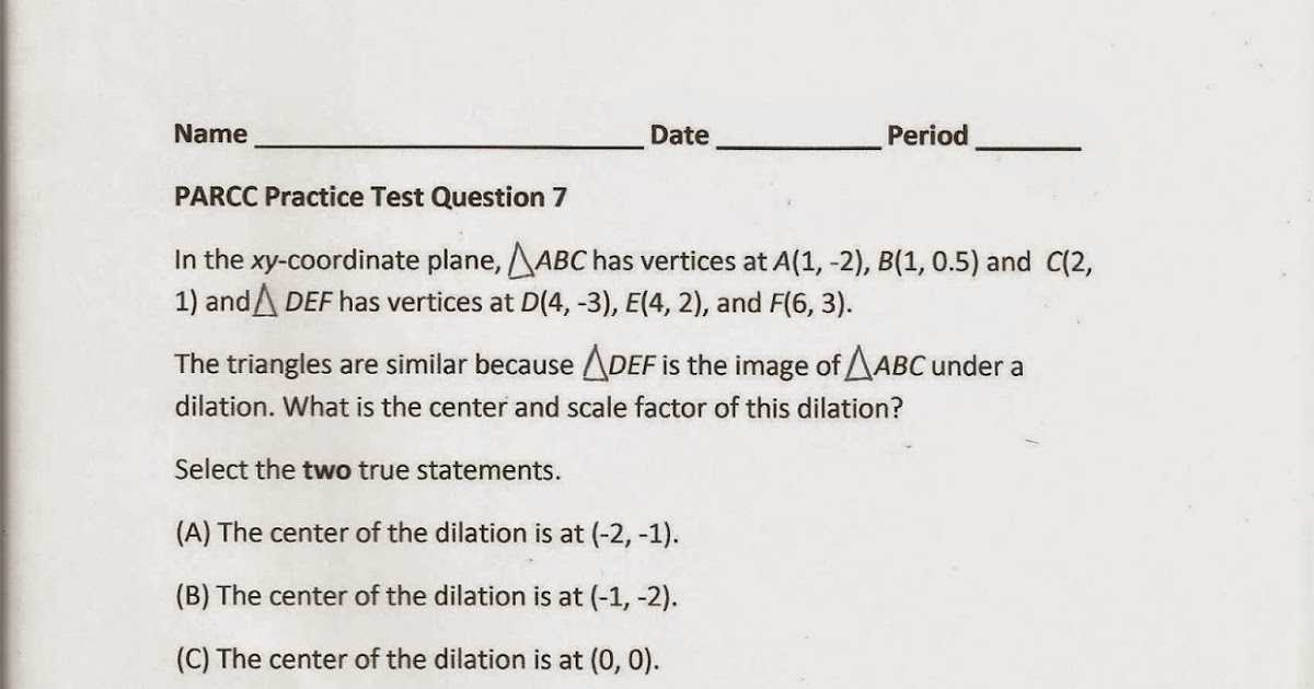Point Slope form Worksheet with Answers or Geometry Mon Core Style Parcc Practice Test Question 7 Day 152