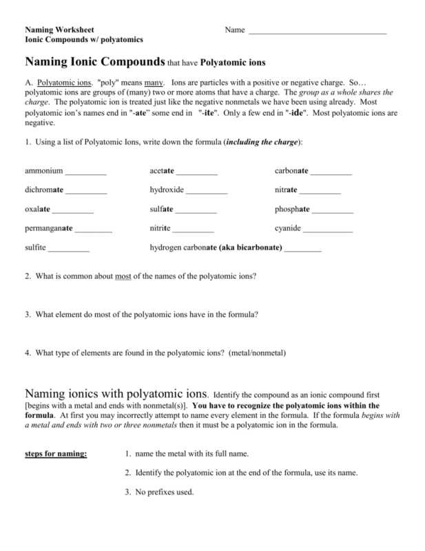 Polyatomic Ions Worksheet Answers Pogil Along with Worksheets 44 Unique Naming Ionic Pounds Worksheet High