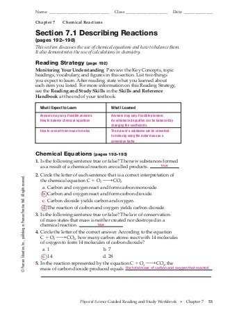 Predicting Products Worksheet Answer Key as Well as 11 1 Describing Chemical Reactions Worksheet Answers New Predicting