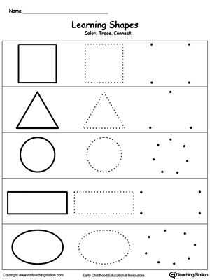 Preschool Learning Worksheets together with Learning Basic Shapes Color Trace and Connect