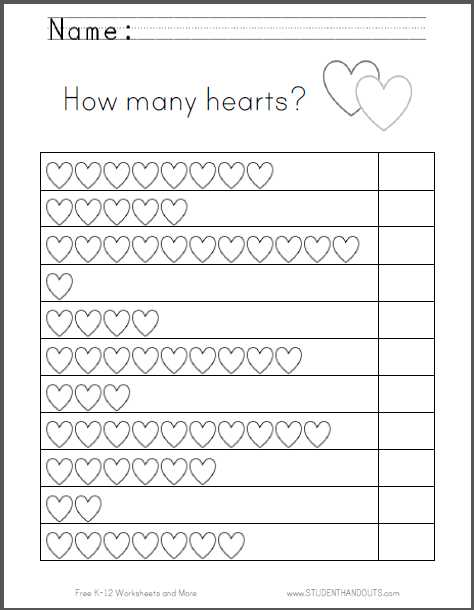 Preschool Math Worksheets Pdf together with Hearts Counting Worksheet Great for Valentine S Day Free to Print