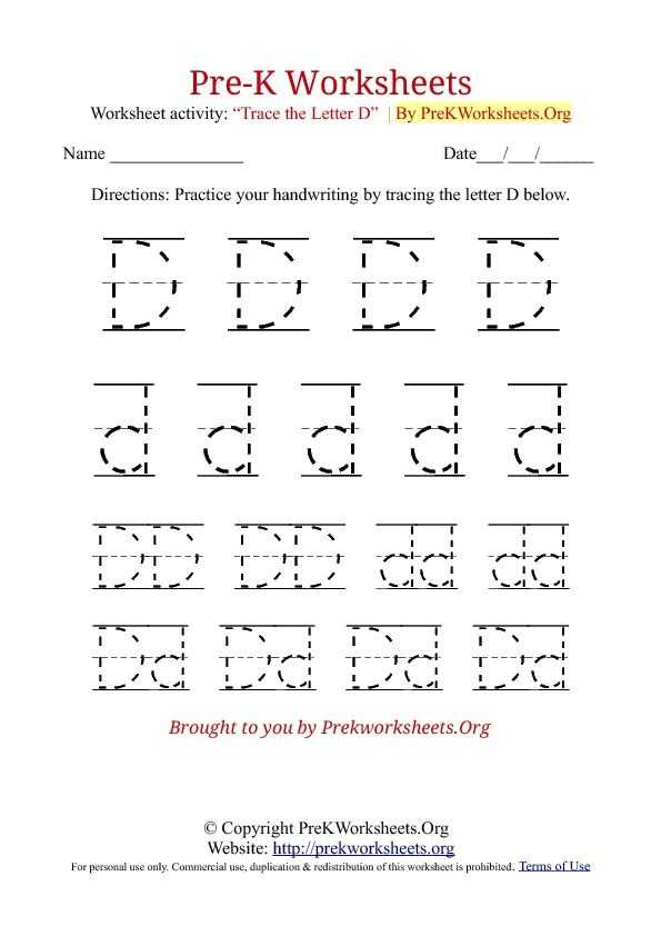 Preschool Tracing Worksheets and Pre K Tracing Worksheet D Pencil Work Pinterest