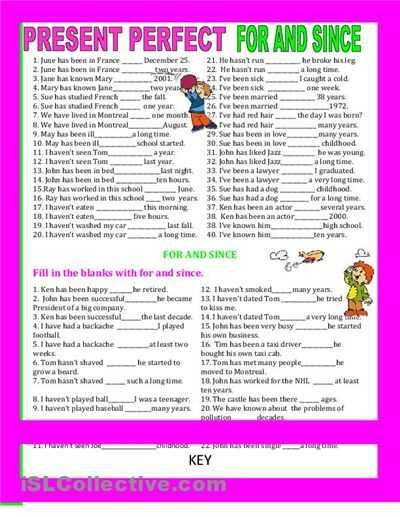 Present Perfect Tense Exercises Worksheet Along with 8 Best since for During Images On Pinterest