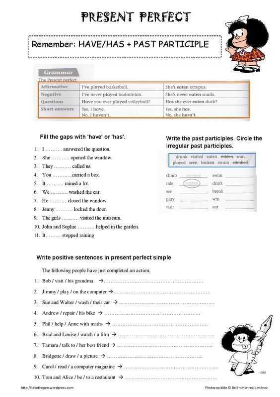 Present Perfect Tense Exercises Worksheet and 8 Best since for During Images On Pinterest