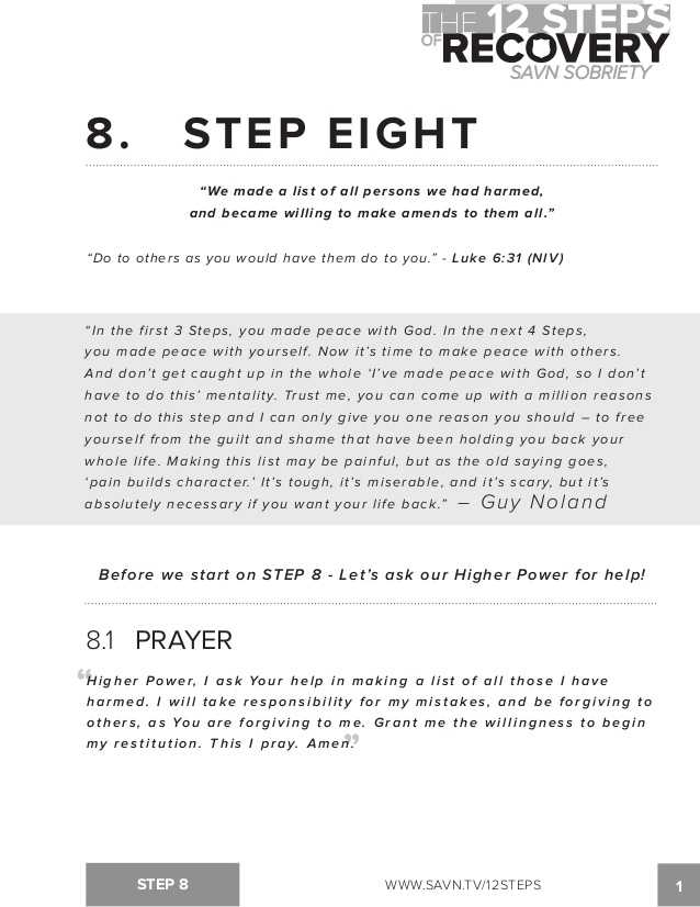 Printable Aa Step Worksheets with the 12 Steps Of Recovery Savn sobriety Workbook
