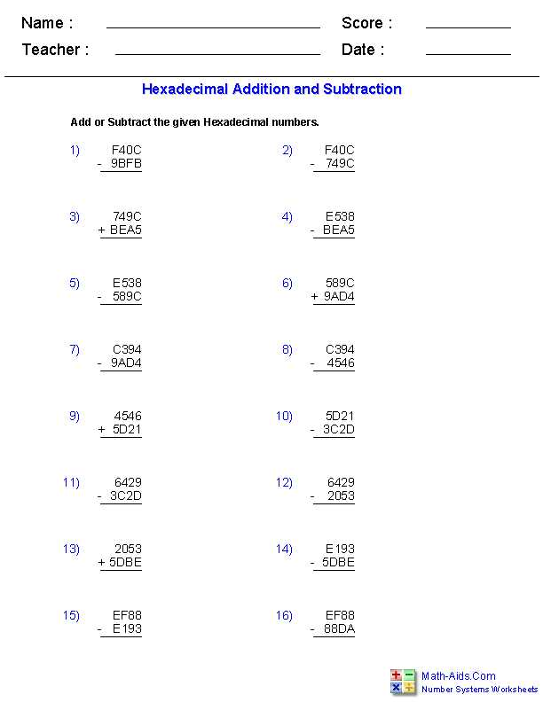 Properties Of Addition Worksheets with Adding and Subtracting Hexadecimal Worksheets