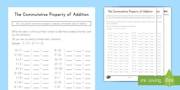 Properties Of Operations Worksheet Also Mutative Property Of Addition Worksheet Activity Sheet