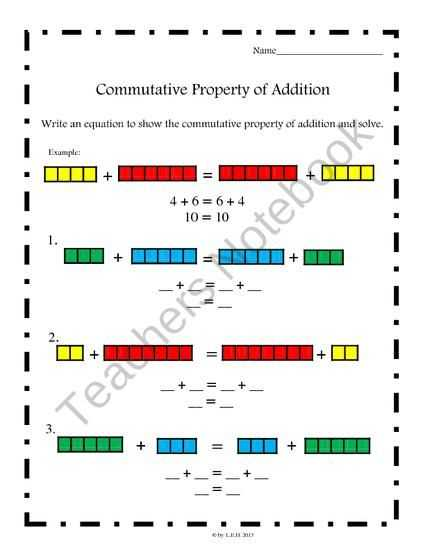 Properties Of Operations Worksheet or Mutative Property Of Addition Worksheets Mon Core Aligned