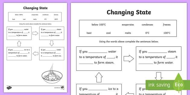 Properties Of Water Worksheet Answer Key or Changing States Ice Water Steam Worksheet Changing States