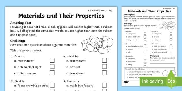 Properties Of Water Worksheet with Properties Of Materials Primary Resources Materials