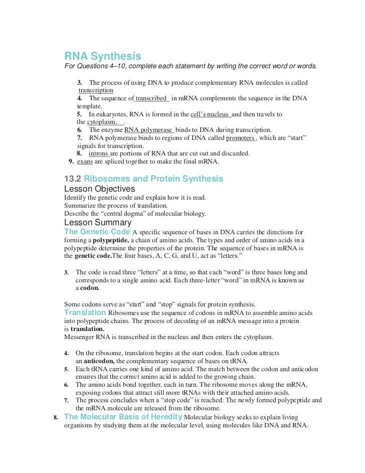 Protein Synthesis and Amino Acid Worksheet Answer Key with Worksheets 49 Unique Transcription and Translation Worksheet Answers