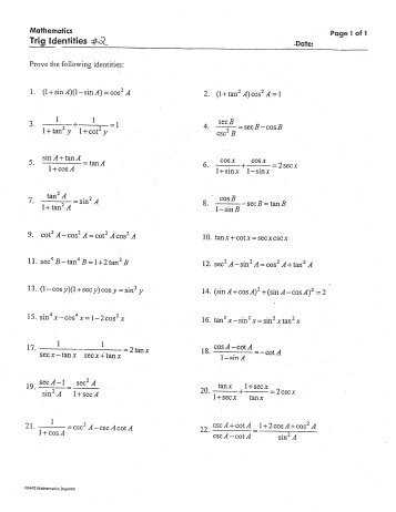 Proving Trig Identities Worksheet with Verifying Trigonometric Identities Worksheet New 3 Trig Free Awesome