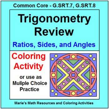Pythagorean theorem Coloring Worksheet Along with Trigonometry Review Coloring Activity or Multiple Choice Test Prep
