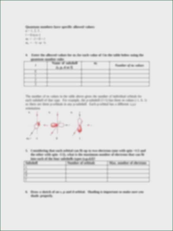 Quantum Numbers Worksheet together with Quantum Numbers Worksheet
