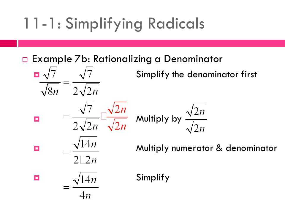 Rationalizing Denominators Worksheet Answers Along with 11 1 Simplifying Radicals Ppt Video Online