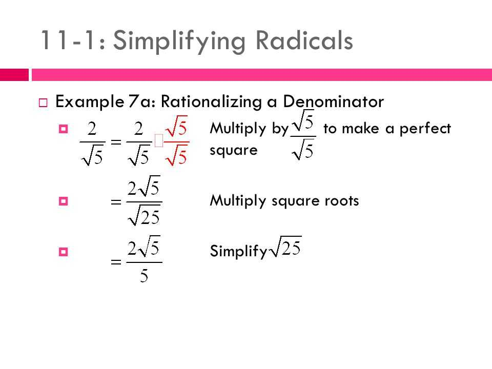 Rationalizing Denominators Worksheet Answers or 11 1 Simplifying Radicals Ppt Video Online