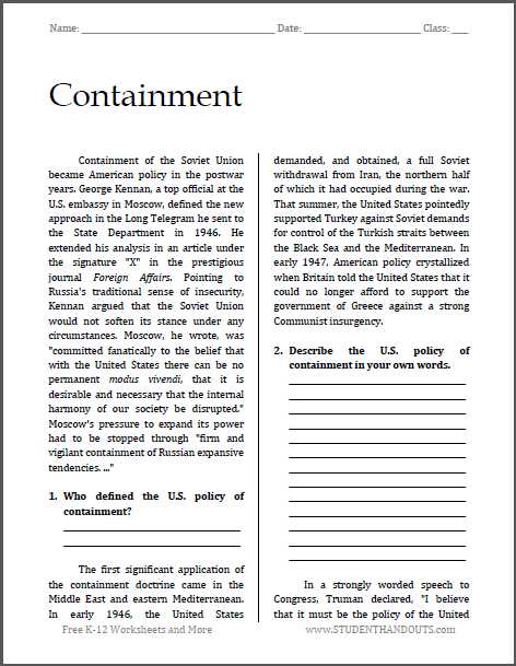 Reading Comprehension High School Worksheets Pdf or Containment Cold War Reading with Questions