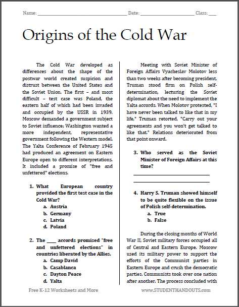Reading Comprehension High School Worksheets Pdf or origins Of the Cold War