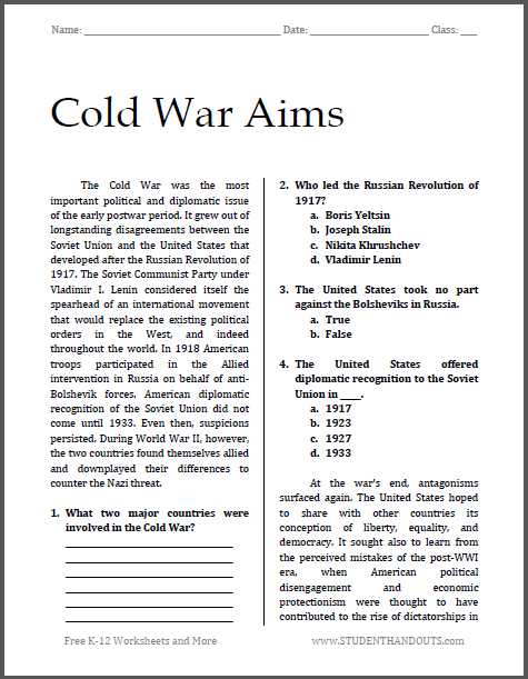 Reading Comprehension High School Worksheets Pdf together with Cold War Aims