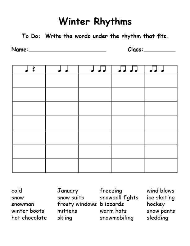 Rhythmic Dictation Worksheet and Winter Rhythms Syllables This is Great Could Be Used for Any
