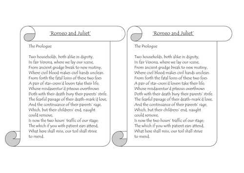 Romeo and Juliet Prologue Worksheet as Well as Romeo & Juliet Printable Prologue for Annotation by Johncallaghan