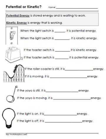 Science Skills Worksheet Answer Key Along with Potential or Kinetic Energy Worksheet Gr8 Pinterest