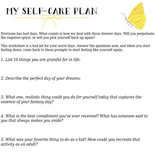 Self Care Worksheets for Adults Also Wellness and Recovery Action Plan Template Image Collections