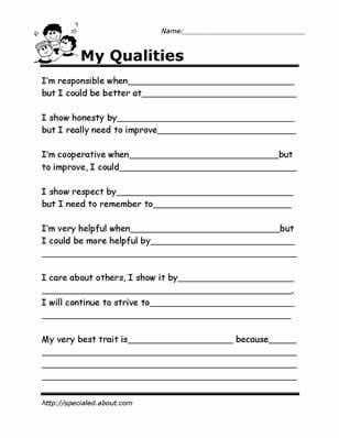 Self Esteem Worksheets for Teens together with Printable Worksheets for Kids to Help Build their social Skills