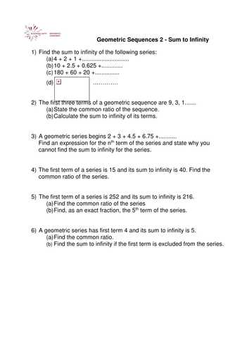 Sequences and Series Worksheet Answers Along with A Level Maths Sum to Infinity Worksheet by Phildb Teaching
